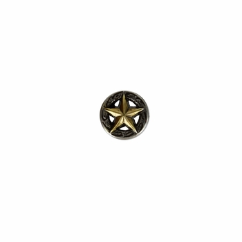 "F9951-2 SRTPGP 1/2"" ANTIQUE SILVER FINISH WITH GOLD STAR RAISED STAR ENGRAVED"