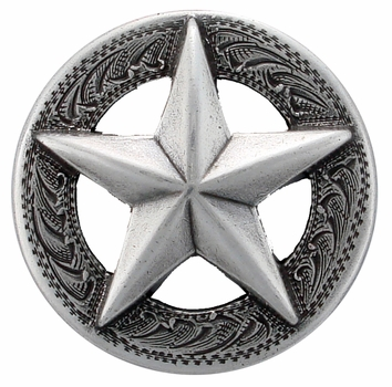 "F9951 SRTP 1 1/8"" STERLING SILVER FINISH RAISED STAR  ENGRAVED CONCHO"