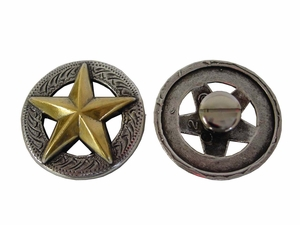 "F9951 SRTPGP  1 1/8"" ANTIQUE SILVER FINISH WITH GOLD STAR RAISED STAR ENGRAVED"