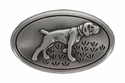 FA-5550 Pointing Hunting Dog Antiques Silver Plated Oval Concho