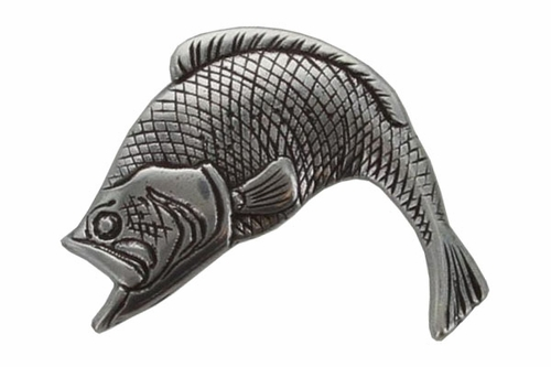 FA-5551 Opened Mouth Sea Bass Antiqued Silver Plated Concho