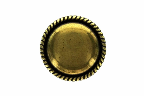 FA0077-1 OEB ROUND SMOOTH CENTER ROPE EDGE DOMED CONCH BLANK ANTIQUE BRASS FINISH 1""