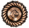 "FA4832-2 SVCRB Rope Edge Horse Head Concho 1"" Copper"