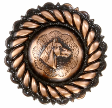 "FA4832-3 SVCRB Rope Edge Horse Head Concho 1 1/4"" Copper"