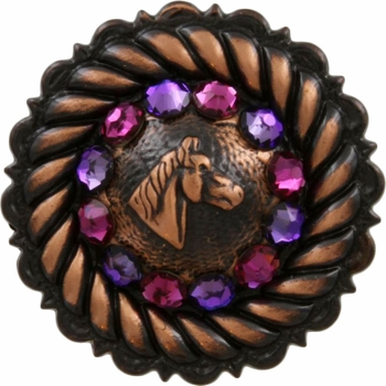 FA4832 Copper Horse Head Concho with Fuchsia & Heliotrope Rhinestones
