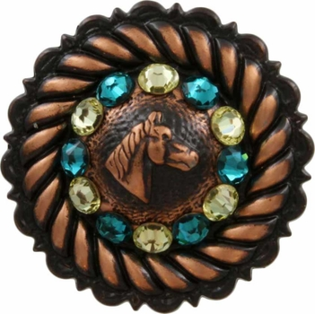 FA4832 Copper Horse Head Concho with Jonquil & Blue Zircon Rhinestones