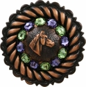 FA4832 Copper Horse Head Concho with Tanzanite & Peridot Rhinestones