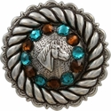 FA4832 LASRP Antique Silver Horse Head Concho with Blue Zircon & Smoked Topaz Rhinestones