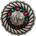 FA4832 LASRP Antique Silver Horse Head Concho with Fuchsia & Emerald Rhinestones