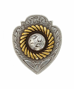 "FA4833-1 ASAG Antique Silver and Gold Badge Concho 1 1/8"" x 7/8"""