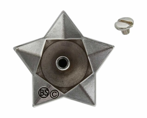 "FA4836-1 ASAG Antique Silver and Gold 1 1/2"" Star Horsehead Concho"