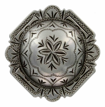 "FA4837-2 LASRP Antique Silver 1-1/2"" Engraved Windrose Rounded Square Concho"