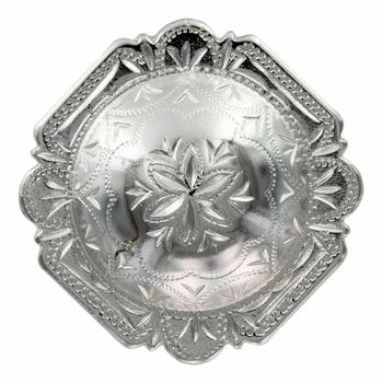"FA4837-2 SP Bright Silver 1-1/2"" Engraved Windrose Rounded Square Concho"