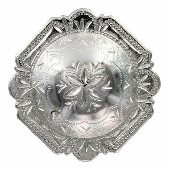 "FA4837-1 SP Bright Silver 1-1/4"" Engraved Windrose Rounded Square Concho"