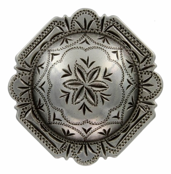"FA4837 LASRP Antique Silver 1"" Engraved Windrose Rounded Square Concho"