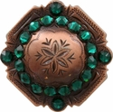 FA4837 Copper Engraved Windrose Rounded Square Concho with Emerald Rhinestones