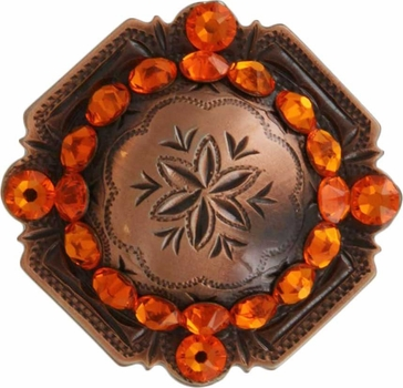 FA4837 Copper Engraved Windrose Rounded Square Concho with Sun Rhinestones