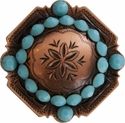FA4837 Copper Engraved Windrose Rounded Square Concho with Turquoise Rhinestones
