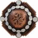 FA4837 Copper Engraved Windrose Rounded Square Concho with White Opal Rhinestones