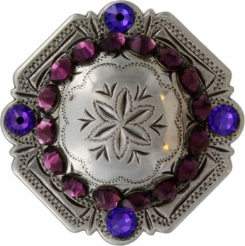 FA4837 LASRP Antique Silver Engraved Windrose Rounded Square Concho with Amethyst & Heliotrope Rhinestones