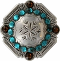 FA4837 LASRP Antique Silver Engraved Windrose Rounded Square Concho with Blue Zircon & Smoked Topaz Rhinestones