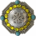 FA4837 LASRP Antique Silver Engraved Windrose Rounded Square Concho with Citrine & Turquoise Rhinestones