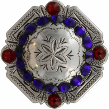 FA4837 LASRP Antique Silver Engraved Windrose Rounded Square Concho with Cobalt & Lt Siam Rhinestones