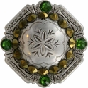FA4837 LASRP Antique Silver Engraved Windrose Rounded Square Concho with Crystal Dorado & Fern Green Rhinestones