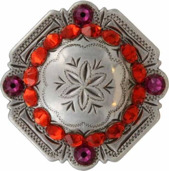FA4837 LASRP Antique Silver Engraved Windrose Rounded Square Concho with Hyacinth & Fuchsia Rhinestones