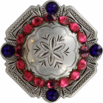 FA4837 LASRP Antique Silver Engraved Windrose Rounded Square Concho with Indian Pink & Cobalt Rhinestones