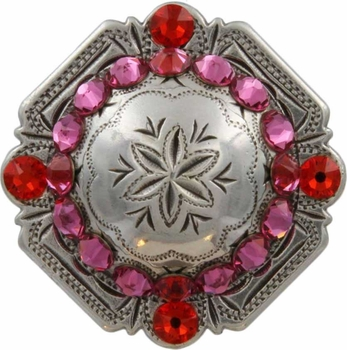 FA4837 LASRP Antique Silver Engraved Windrose Rounded Square Concho with Rose & Hyacinth Rhinestones