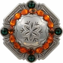 FA4837 LASRP Antique Silver Engraved Windrose Rounded Square Concho with Sun & Emerald Rhinestones