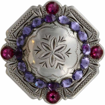 FA4837 LASRP Antique Silver Engraved Windrose Rounded Square Concho with Tanzanite & Fuchsia Rhinestones