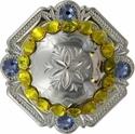FA4837 SP Polished Silver Engraved Windrose Rounded Square Concho with Citrine & Lt Sapphire Rhinestones