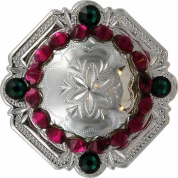 FA4837 SP Polished Silver Engraved Windrose Rounded Square Concho with Fuchsia & Emerald Rhinestones