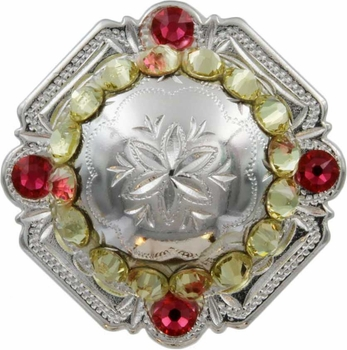 FA4837 SP Polished Silver Engraved Windrose Rounded Square Concho with Jonquil & Indian Pink Rhinestones