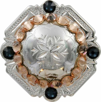 FA4837 SP Polished Silver Engraved Windrose Rounded Square Concho with Lt Peach & Montana Rhinestones