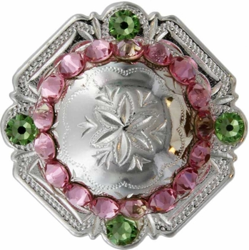 FA4837 SP Polished Silver Engraved Windrose Rounded Square Concho with Lt Rose & Peridot Rhinestones