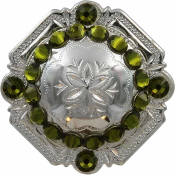 FA4837 SP Polished Silver Engraved Windrose Rounded Square Concho with Olivine Rhinestones