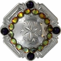 FA4837 SP Polished Silver Engraved Windrose Rounded Square Concho with Volcano & Purple Velvet Rhinestones