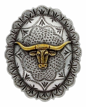 "FA4838 ASAG Silver and Gold Longhorn Oval Concho 1-1/2"" by 1-1/4"""