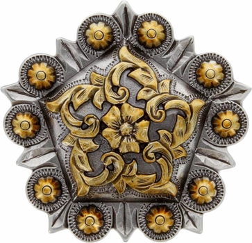 FA4855-2 ASAG Antique Silver and Gold Floral Pentagon Concho 1-1/2''