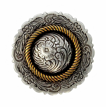 FA4863-3 ASAG Antique Silver and Gold Center Rope Concho 1 1/2""
