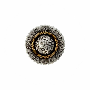FA4863 ASAG Antique Silver and Gold Center Rope Concho 3/4""