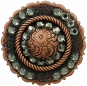 FA4863 Copper Center Rope Concho with Black Diamond Rhinestones