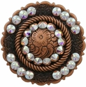 FA4863 Copper Center Rope Concho with Crystal AB Rhinestones