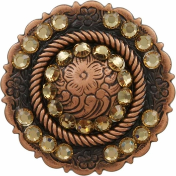 FA4863 Copper Center Rope Concho with Lt Colo Topaz Rhinestones