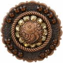 FA4863 Copper Center Rope Concho with Lt Colo Topaz & Smoked Topaz Rhinestones
