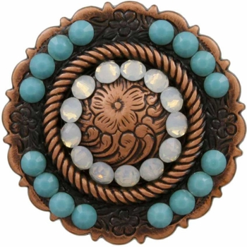 FA4863 Copper Center Rope Concho with White Opal & Turquoise Rhinestones