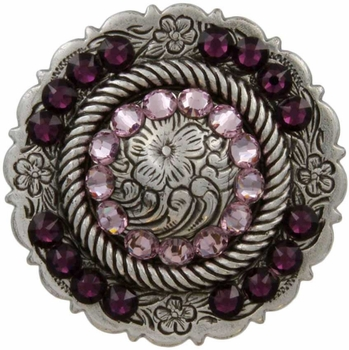FA4863 LASRP Antique Silver Center Rope Concho with Amethyst & Lt Amethyst Rhinestones